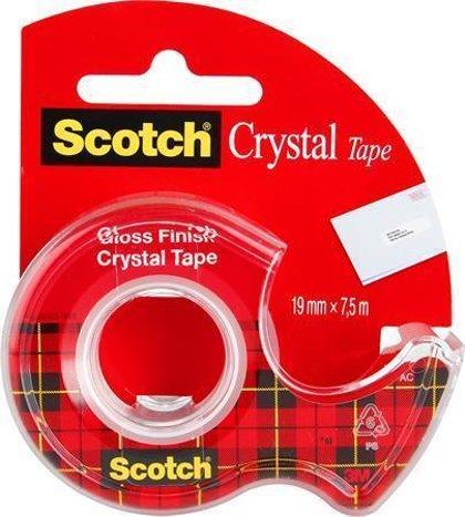 Līmlente 19mm*7.5m, ar turētāju, 3M Scotch Crystal