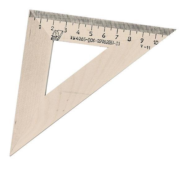 Lineāls trijstūris 45/11cm, koka