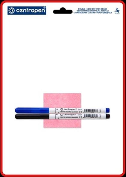 Tāfele balta A4, komplektā marķieri 2 gab. + drāna tīrīšanai, Centropen