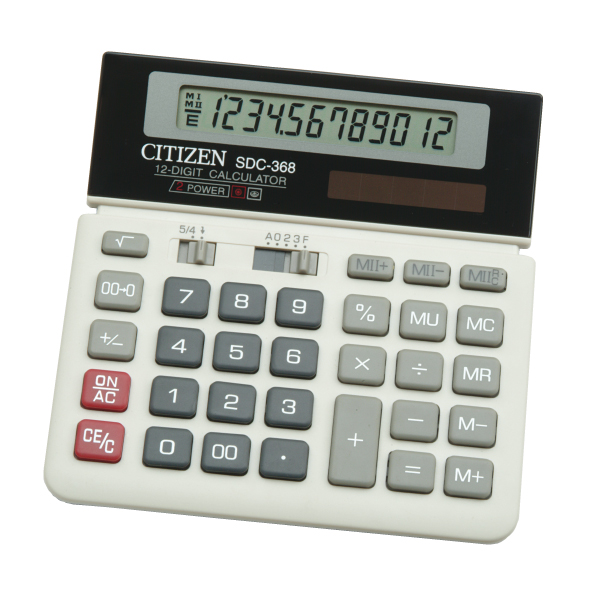 Kalkulators galda, 12 simboli, Citizen SDC-368