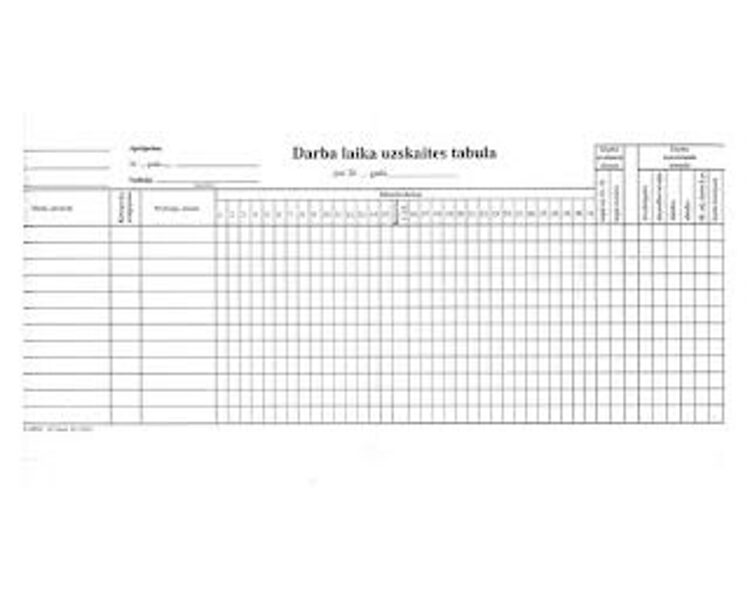 Darba laika uzskaites tabula 1/2 A3D, 10 loksnes