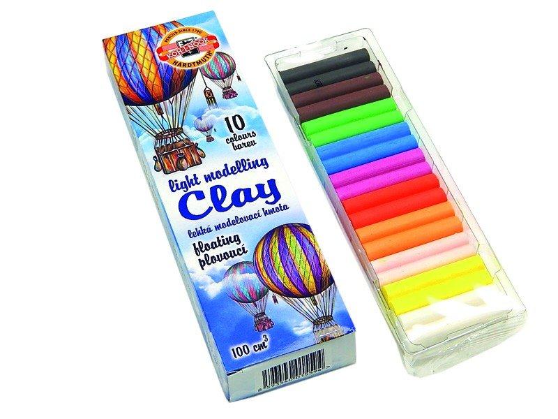 """Plastilīns, 10 krāsas, ūdenī negrimstošs, Koh-i-noor """"light clay"""""""