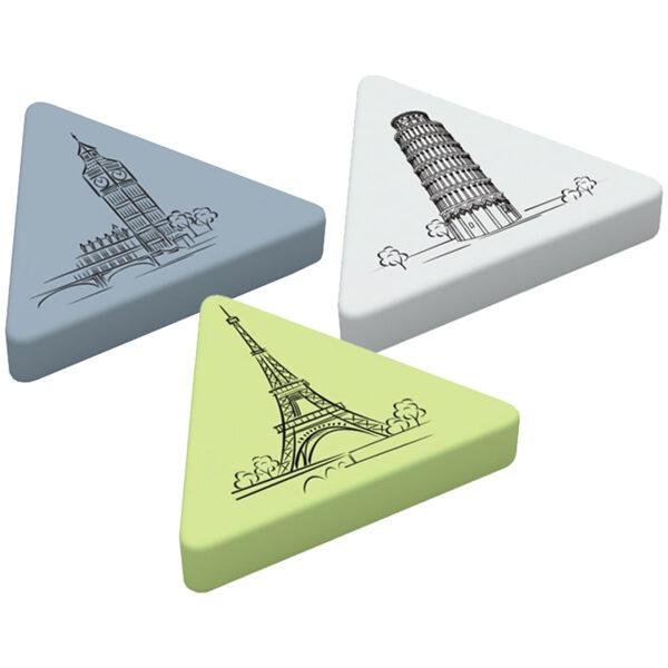 Dzēšgumija 55*55*9mm, trīsstūra forma, mix krāsas, 1gb., Berlingo Triangle XL