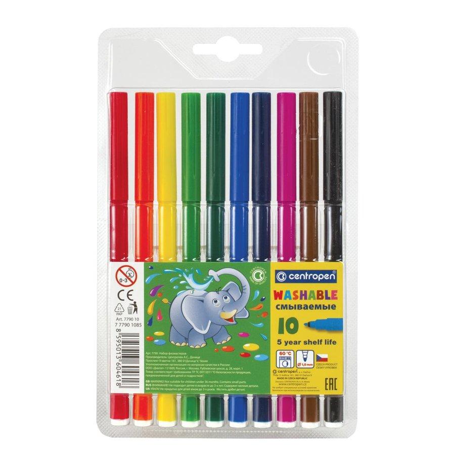 Flomasteri 10 krāsas, Viegli notīrāmi, Centropen