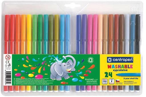 Flomasteri 24 krāsas, Viegli notīrāmi, Centropen