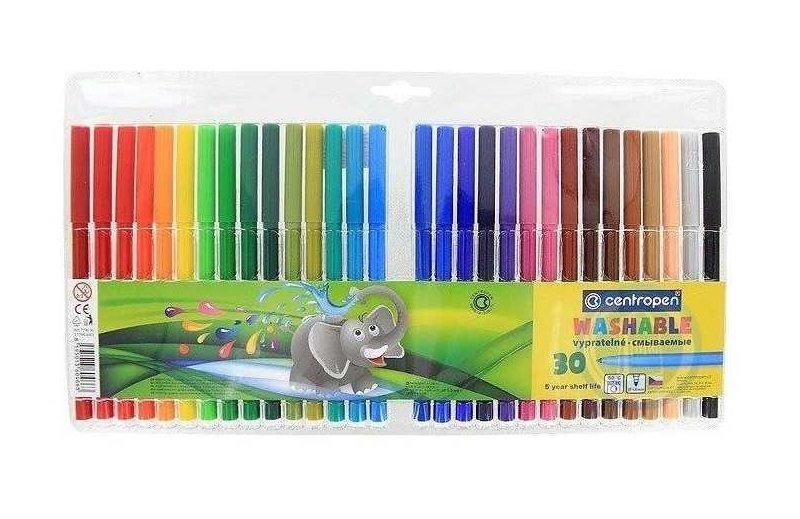 Flomasteri 30 krāsas, Viegli notīrāmi, Centropen