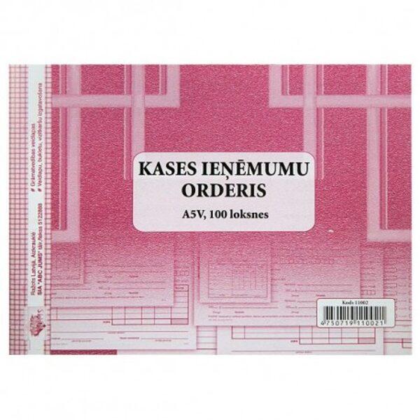 Kases ieņēmumu orderis, A5V, 100loksnes