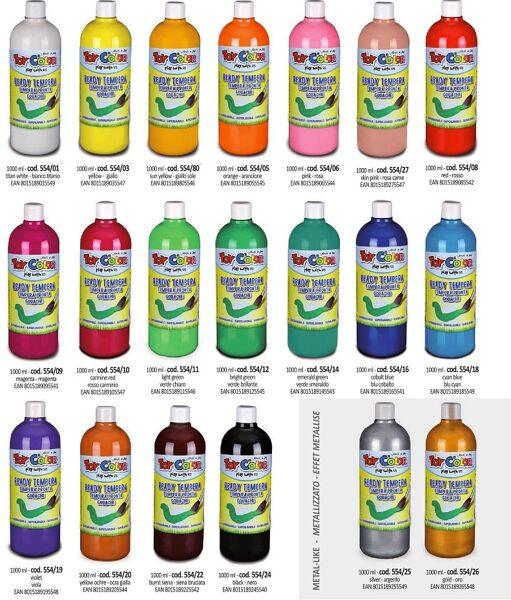 Tempera guaša krāsa ToyColor - superwashable 1000ml dažādas krāsas