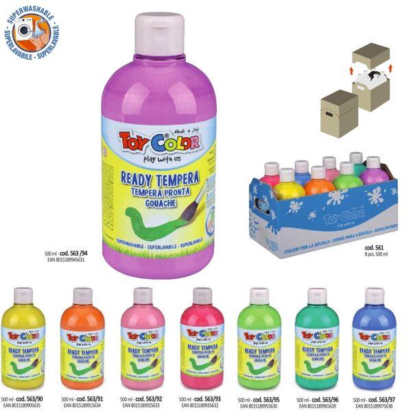 Tempera guaša krāsa ToyColor - superwashable 250 ml, dažādas krāsas