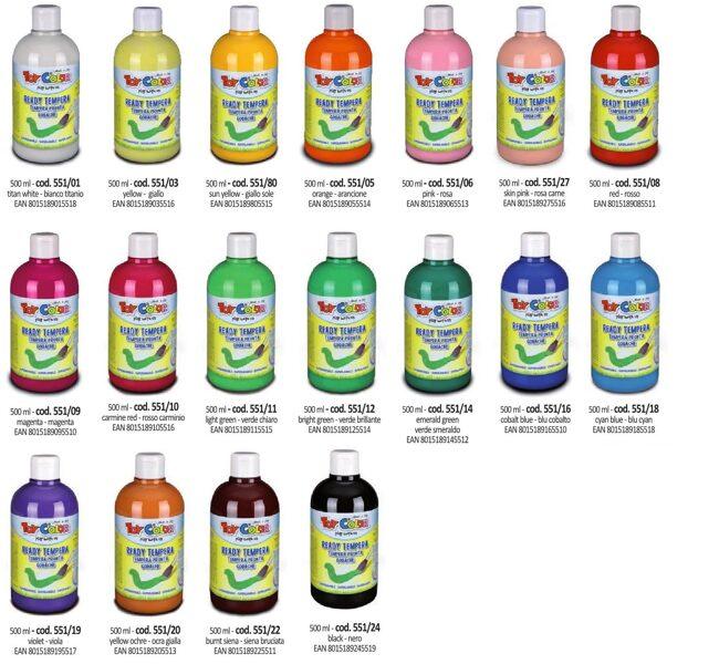 Tempera guaša krāsa ToyColor - superwashable 500 ml, dažādas krāsas