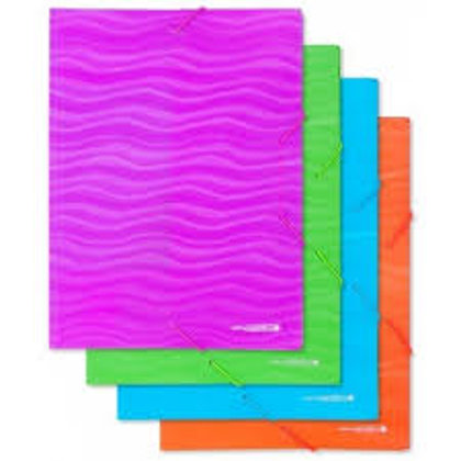 Mape ar gumiju, A4, plastikāta ar reljefu, dažādas krāsas